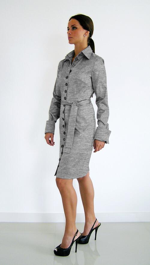 ShirlZ dames doorknoopjurk grijs melange jersey